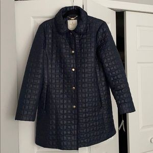 NWT Kate Spade Quilted Navy Coat